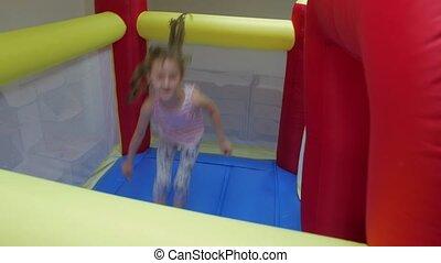 girl, peu, sauter trampoline