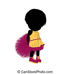 girl, peu, silhouette, acclamation, illustration