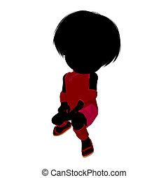 girl, peu, silhouette, asiatique, illustration