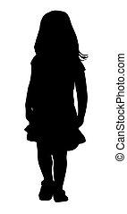 girl, peu, silhouette