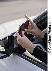 girl, phone, car
