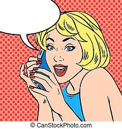 Girl phone talk joy Pop art vintage comic - Pop art vintage...