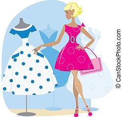 Vector illustration of a girl buying retro dress