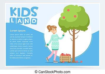 Girl picking apples in garden, eco concept, organic gardening, kids land banner flat vector element for website or mobile app