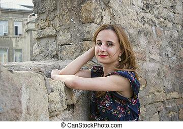 girl, pierre, jeune, mur