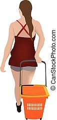 girl piggyback with shopping cart