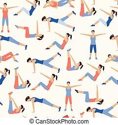 girl, pilates, beau, exercises., modèle, crise, collection