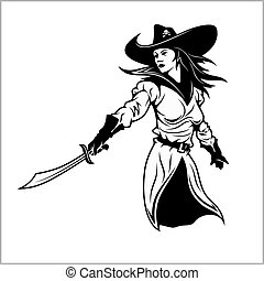 Girl Pirate - vector illustration.