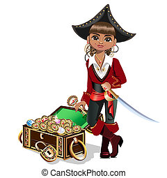 Girl pirate with treasure chest