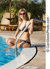 girl, piscine, blonds, séance
