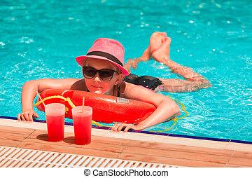 girl, piscine, heureux