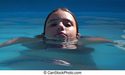 girl, piscine, jeune, natation