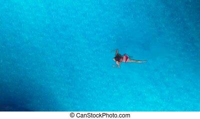 girl, piscine, natation
