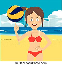 girl, plage, adolescent, volley-ball