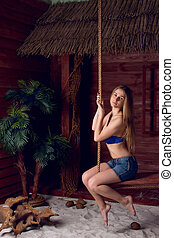 girl, plage, balançoire