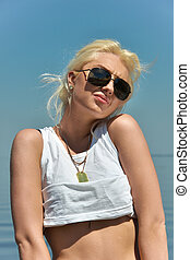 girl, plage, blond