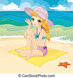 girl, plage, blond, séance