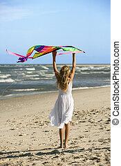 girl, plage., cerf volant, tenue