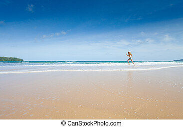 girl, plage, courant