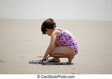 girl, plage, dessin