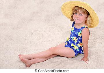 girl, plage, enfant
