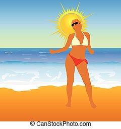 girl, plage, illustration, vecteur