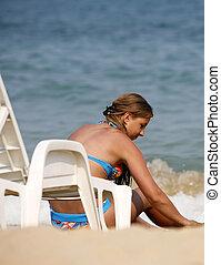 girl, plage, jouer