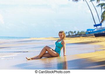 girl, plage