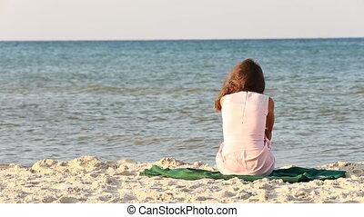 girl, plage, séance