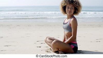 girl, plage, sportif, jeune