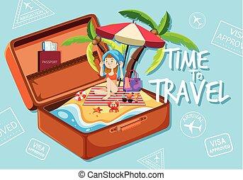 girl, plage, valise