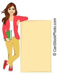 girl, planche, contre, étudiant, penchant, vide