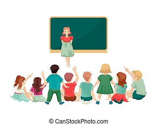girl, plancher, rencontre, backs., robe, asseoir, illustration., leur, blackboard., vecteur, enfants
