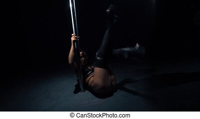 girl, plancher, vidéo, pylône, danse