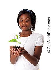 girl, plante, main