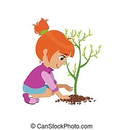 Girl Planting A Tree Colorful Simple Design Vector Drawing...