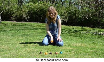 girl play easter game