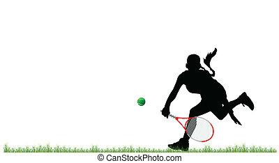 girl play tennis on grass vector