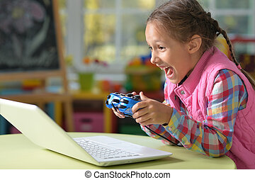Girl play video game