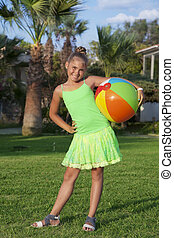 Girl play with a ball