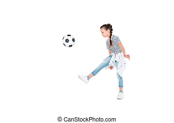 Girl play with football ball