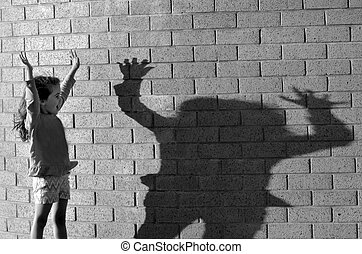 Girl play with her shadow