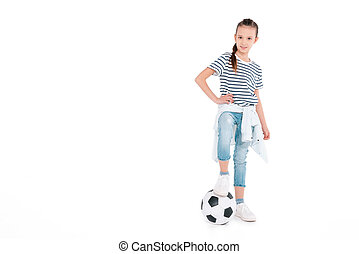 Girl play with soccer ball