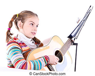 girl playing acoustic guitar isolated on white