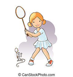 Little girl playing badminton with her mouse