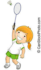 Badminton - Girl playing Badminton with Clipping Path