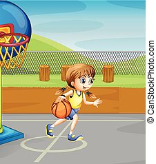 Girl playing basketball in the court