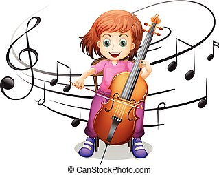 Girl playing cello alone illustration