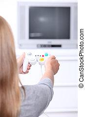 Girl playing computer games
