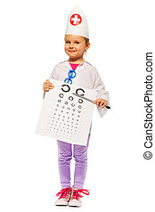 Girl playing doctor with pointer and testing card